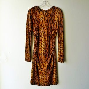 Long sleeved Tory Burch leopard print silk dress M